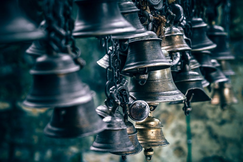 Photo of several bells, to describe the vibration of sound therapy